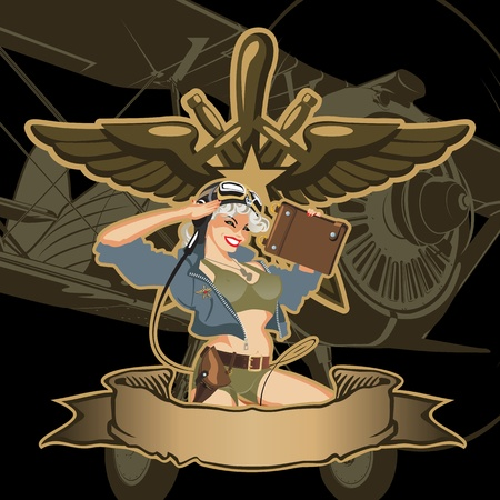 fighters: Vector retro military pin-up