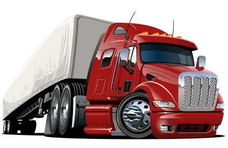 white truck: cartoon semi truck  one-click repaint Illustration