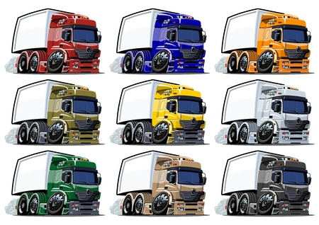 Cartoon trucks set isolated on white background photo