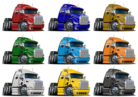 Cartoon semi trucks set isolated on white background Stock Photo