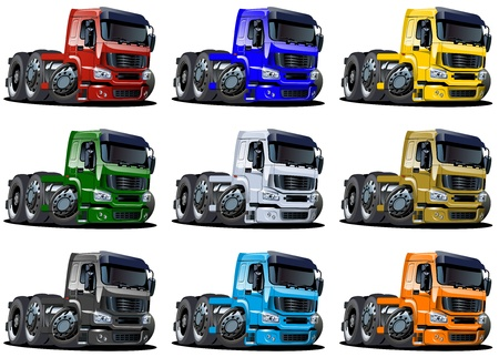 loading truck: Cartoon semi trucks set isolated on white background Stock Photo