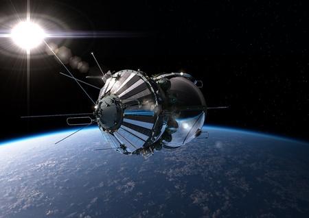 Spaceship Vostok1 an der Erdumlaufbahn Standard-Bild - 12870345