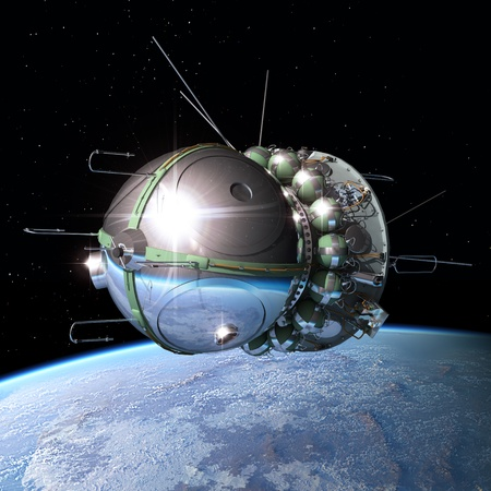 satelite: Nave espacial Vostok1 en la �rbita de la Tierra Foto de archivo