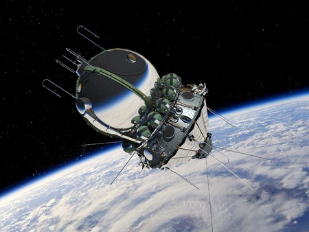 Spaceship Vostok1 at the Earth orbit photo