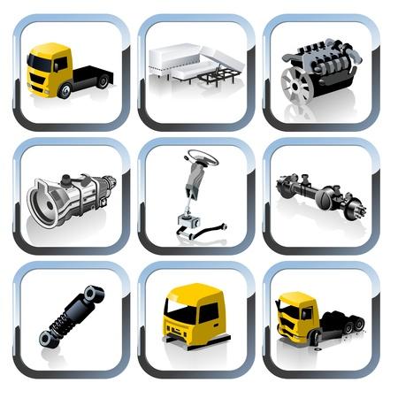 los iconos de repuestos de camiones establecer Ilustración de vector