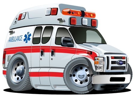 ambulancia: Ambulancia de la historieta van con un solo clic pintar Vectores