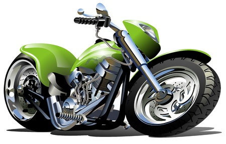 cartoon biker: Vector Cartoon Motorcycle (one-click repaint) Illustration