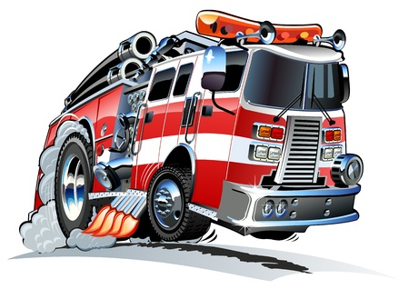 camion de pompier: Camion de pompiers de bande dessin�e