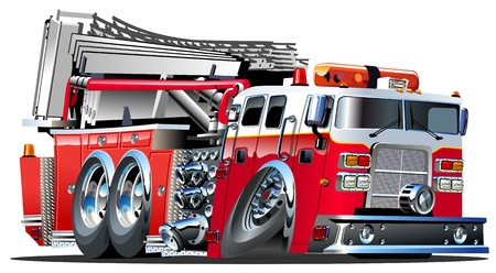 cartoon truck: Vector de dibujos animados Fire Truck Lowroder Vectores