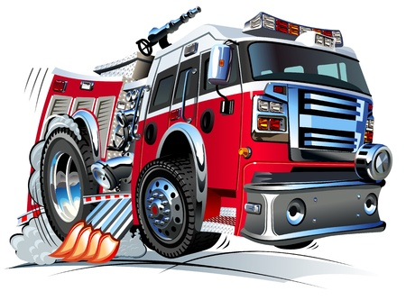 camion pompier: Vector Cartoon Fire Truck Hotrod