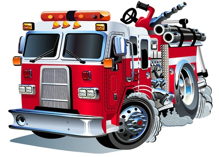bombero de rojo: Cartoon Vector del coche de bomberos