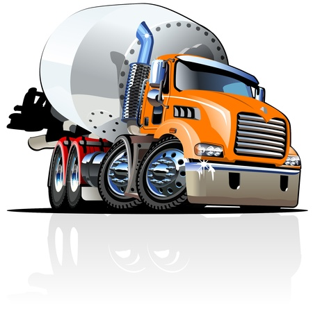 Cartoon Mixer Truck one-click repaint option Vector