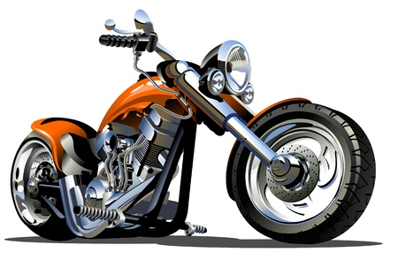 harley davidson motorcycle: Cartoon Motorbike Illustration