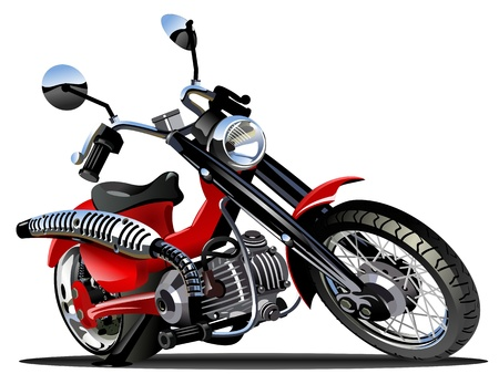 cartoon biker: Vector Cartoon Motorcycle Illustration