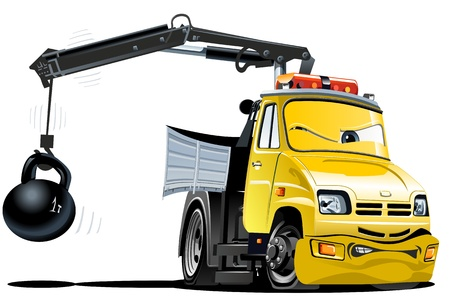 vector cartoon: Vector Cartoon Tow Truck