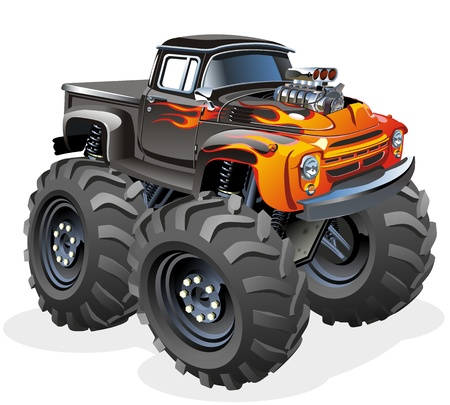 fire car: Cartoon Monster Truck Illustration