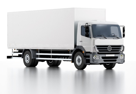 white truck: Commercial Delivery  Cargo Truck Stock Photo