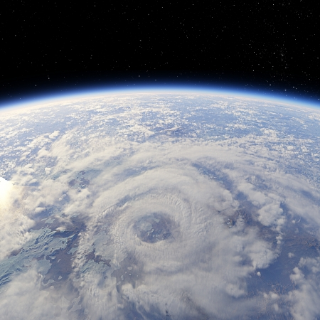 Cyclone view from the Earth orbit photo