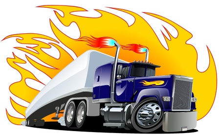 Cartoon Semi Truck. one-click repaint. Vector