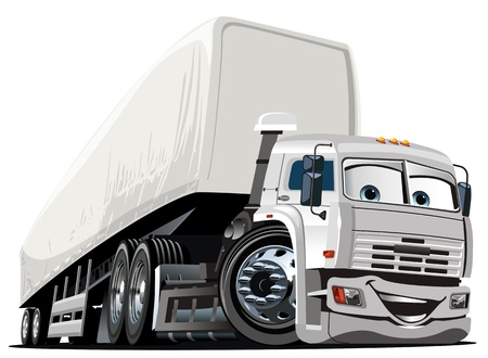 semi truck: Vector de dibujos animados de camiones Semi Vectores