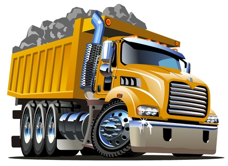 mining truck: Dump Truck Cartoon Vectores