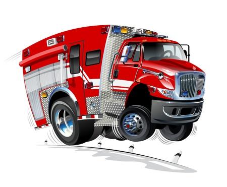 bombero de rojo: Cartoon Cami�n de Rescate Vectores