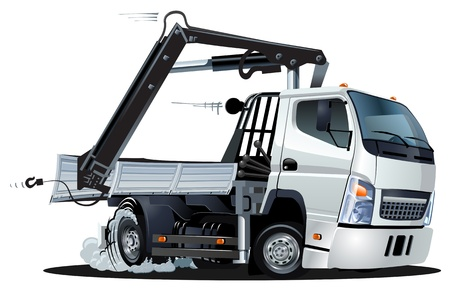lift trucks: Vector Cartoon Lkw Truck with Crane