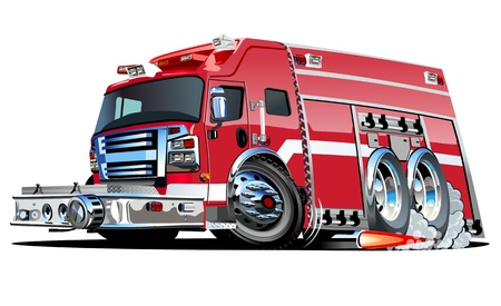 water safety: Cartoon Fire Truck Illustration