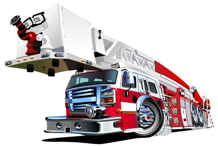 camion de bomberos: Cartoon Vector del coche de bomberos