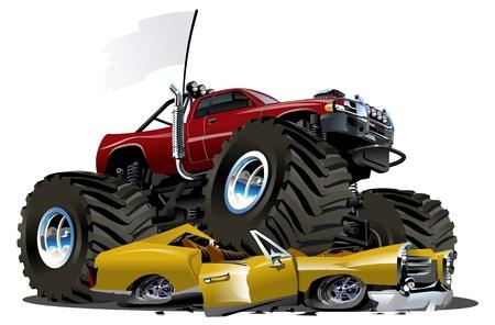 carro caricatura: Vector de Cartoon Monster Truck Vectores