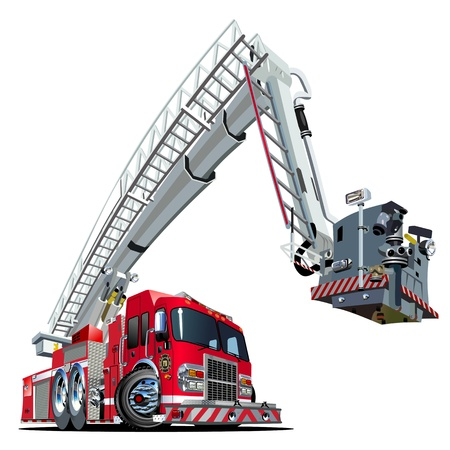 recue: Cartoon Fire Truck Illustration