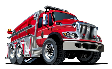 brigade: Cartoon Fire Truck Illustration