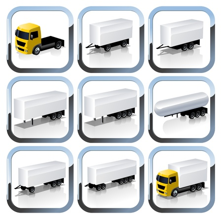 Truck Trailaers Icons Set
