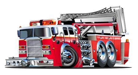 coche de bomberos: Cartoon Vector del coche de bomberos