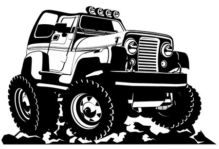 street rod: Cartoon jeep Illustration
