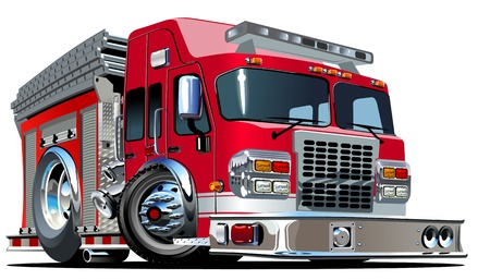 departments: Vector Cartoon Fire Truck