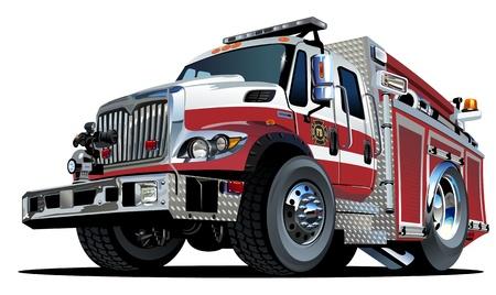 engine fire: Vector Cartoon Fire Truck