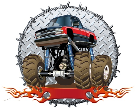 motorsport: Cartoon Monster Truck Illustration