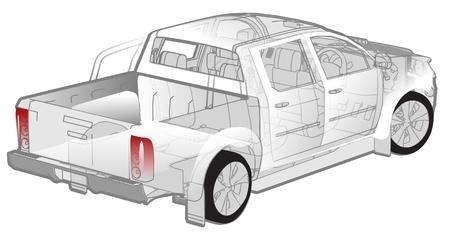 Pickup infographics cutaway Vector