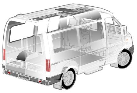 white van: Van infographics cutaway