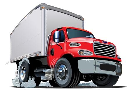 teherautók: Cartoon szállítás rakomány teherautó Illusztráció