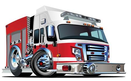 coche de bomberos: Caricatura Cami?n de Bomberos Vectores