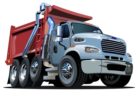 dump truck: Cartoon Dump Truck Illustration
