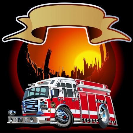 camion de bomberos: Historieta del coche de bomberos disponible separados por grupos y capas para facilitar la edici�n