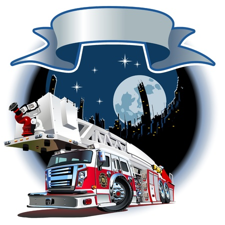 Cartoon Fire Truck  Available  separated by groups and layers for easy edit Vector