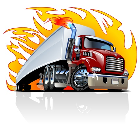 Cartoon Semi Truck. Available  separated by groups and layers with transparency effects for one-click repaint. Vector