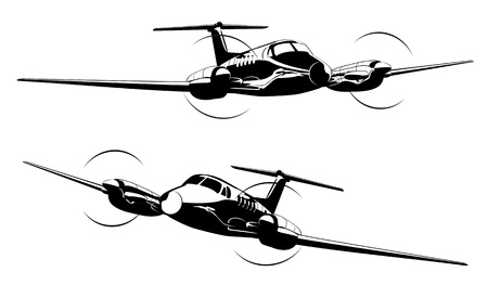 private jet: Civil utility aircraft Available EPS-8 vector format separated by groups and layers for easy edit