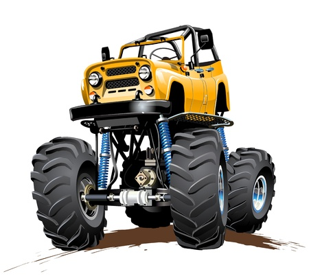 Vector Cartoon Monster Truck  Available EPS-10 with transparency effects for one-click repaint