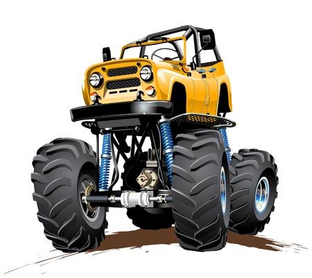 yellow tractor: Vector de dibujos animados Monster Truck disponible EPS-10 con efectos de transparencia de un solo clic pintar