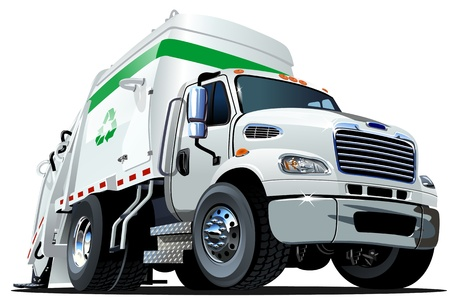 camion de basura: Cartoon Garbage Truck Vectores